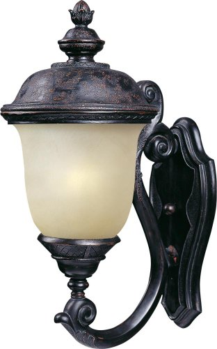 Maxim 86523MOOB Carriage House EE 1-Light Outdoor Wall Lantern, Oriental Bronze Finish, Mocha Glass, GU24 Fluorescent Fluorescent Bulb , 60W Max., Dry Safety Rating, Standard Dimmable, Glass Shade Material, 1344 Rated Lumens