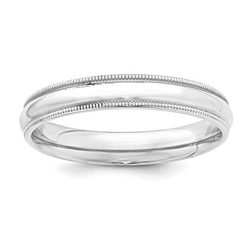 925 Sterling Silver 4mm Comfort Fit Milgrain Wedding Ring Band Size ()
