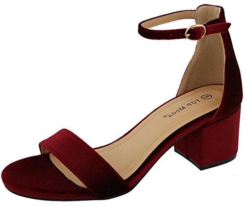 Image of Top Moda Women's Strappy Velvet Stacked Block Heel Dress Sandal