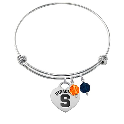 Syracuse Orange Stainless Steel Adjustable Bangle Bracelet with Heart Charm & Crystal Accents by College Jewelry