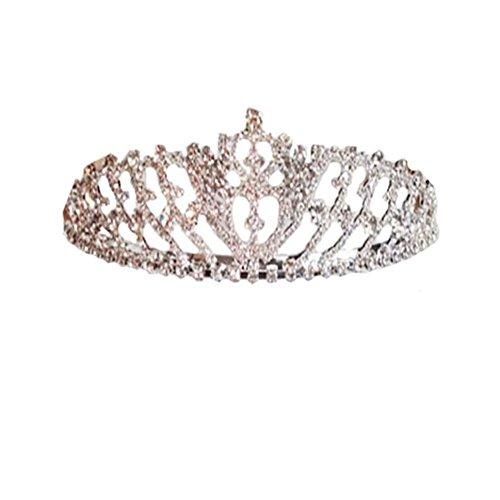 Kids Dream Girls Cross First Communion Veil Tiara Crown (OS, Double Cross) ()