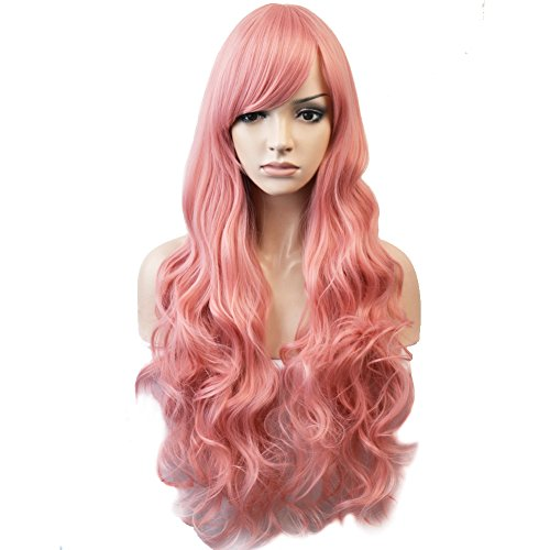 BERON 32'' Women Girl's Soft Long Curly Synthetic Wigs Costume Play Party Wigs Hairnet Included (Pink)
