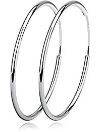 Sterling Silver Circle Endless Hoop Earrings - Jewelry for Women Girls,Daimeter 20,30,40,50,60mm