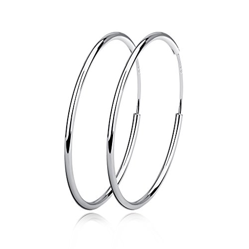 Silver Hoop Earrings Sterling Silver Circle Endless Big Earrings Hoops Jewelry,Fashion Gold Hoop Earring for Women Girls,Daimeter 20,30,40,50,60,70,80mm