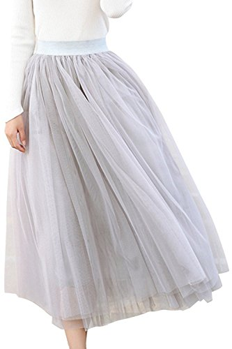 Mesh Full Skirt (Usatisfy Women's A-Line Mesh Tulle Skirts With Stretch High Waist and Lining (Grey))