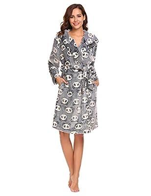 Goldenfox Women Hooded Floral Fleece Sleepwear Wrap Robe Bathrobe with Belt Long Sleeve S-XXL