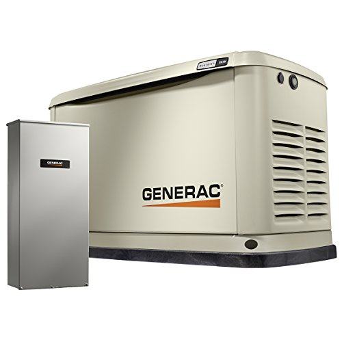 Generator Automatic Guardian - Generac 7033 Guardian Series 11kW/10kW Air Cooled Home Standby Generator with Whole House 200 Amp Transfer Switch (not CUL)