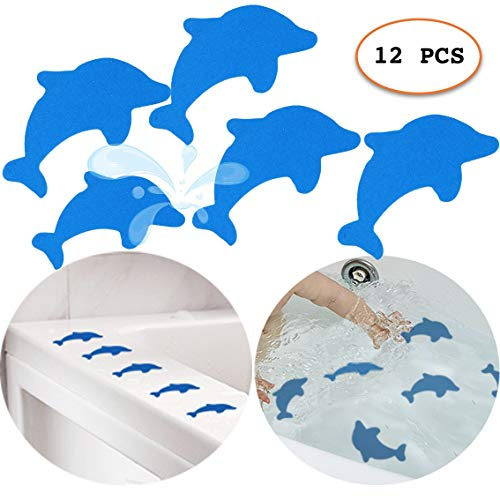 S&X Non-Slip Bath Stickers,Grippy Dolphin Adhesive Safety Treads for...