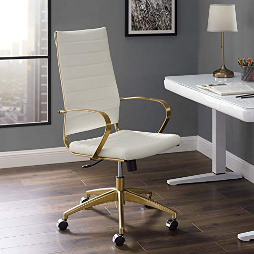 Modway Jive Gold Stainless Steel Executive Managerial Tall Swivel Highback Office Chair ()