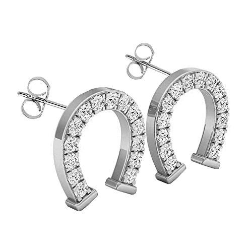 Ring Ladies Diamond Horseshoe (0.10 Carat (ctw) 14K White Gold Round White Diamond Ladies Horseshoe Stud Earrings 1/10 CT)