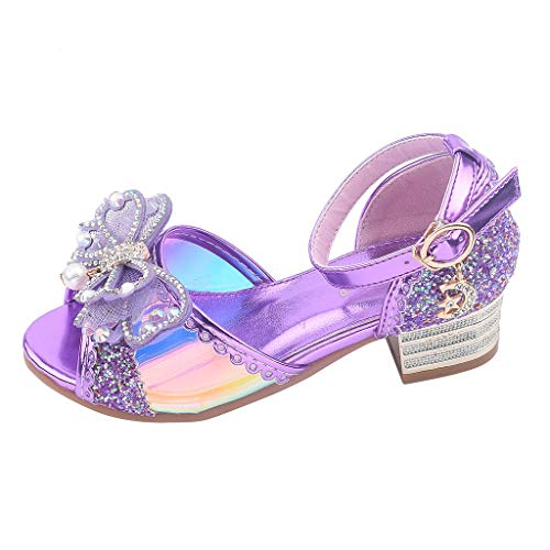 Tantisy ♣↭♣ Baby Girls Bowknot Pearl Bling Princess Sandals Sequins Mary Jane Ballet Flats Princess Dress Shoes/Big Kid Purple