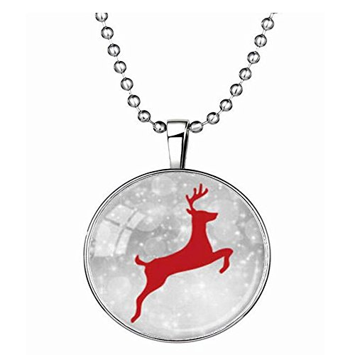 Luck Wang Woman's Unique Christmas Elk Gemstone Necklace (Yankees Starter Jacket compare prices)