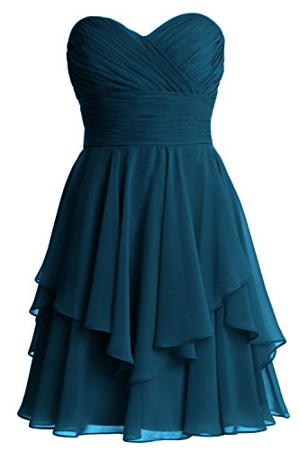 MACloth Women Short Wedding Party Bridesmaid Dress Strapless Tiered Cocktail Teal
