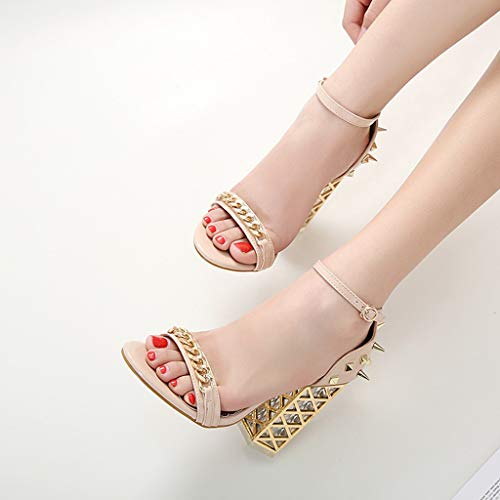 Women's Chunky Heel Sandals,Ladies Summer Ankle Straps High-Heels Open Toe Sandal by Sunskyi (Image #9)