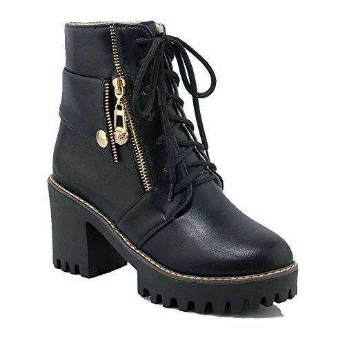 Allhqfashion Dames Low-top Solide Lace-up Ronde Gesloten Neus Hoge Hakken Laarzen Zwart