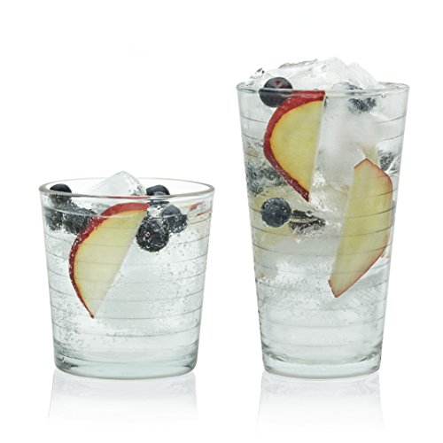 - Libbey Hoops 16-Piece Tumbler and Rocks Glass Set