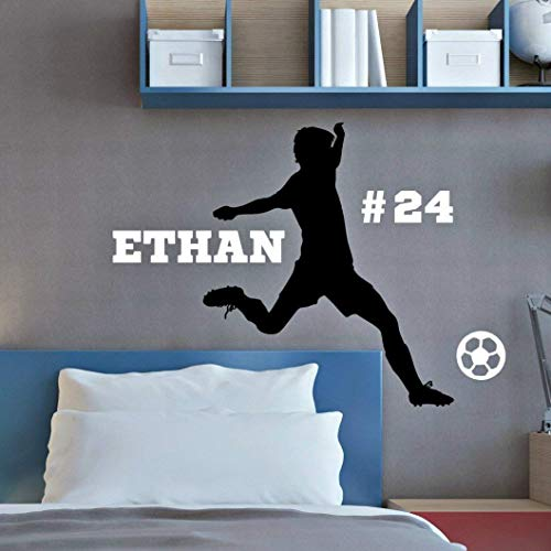 Personalized Boys Soccer Wall Decal, Boys Futbol Gifts, Over 30 Colors and Several Sizes by Vinyl Written