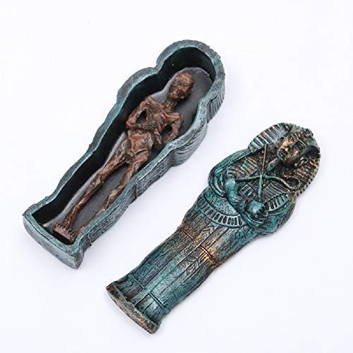 Funnuf Aquarium Decoration Egyptian King Tutankhamun Pharaoh Sarcophagus Coffin with Mummy Figurine Set Tombstone Historical Sculpture, 4.93 Inches (Aquarium Decor Zombie)