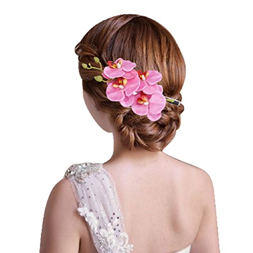 Ikevan Hot Selling Women Fashion Jewelry Side Clip Barrette Simulation Butterfly Orchid Hairpins Hair Accessories (Pink)