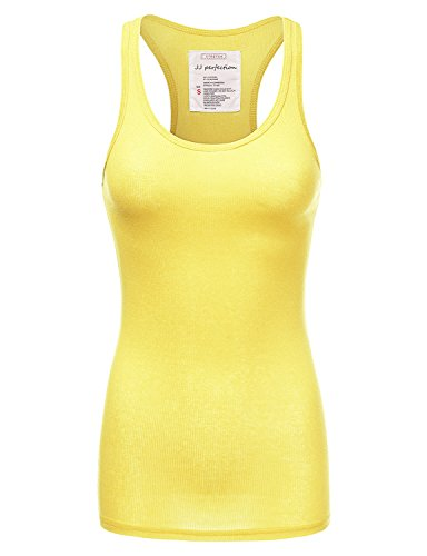 Ribbed Stretch Knit (JJ Perfection Women's Solid Ribbed Knit Stretch Racerback Tank Top Yellow M)