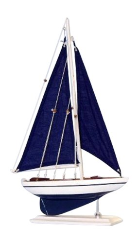 "Hampton Nautical Pacific Sailer Sails Boat, 17"", Blue"