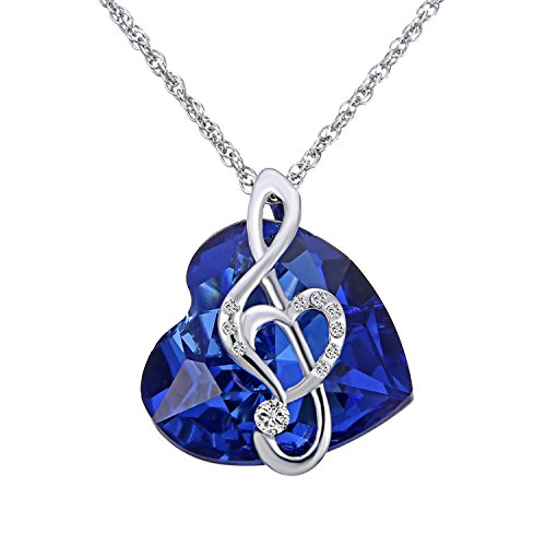 Plating Platinum (Rinhoo Platinum Plating Crystal Diamond Love & Mom Sapphire Blue Ocean Heart Pendant Necklace (Music Note))