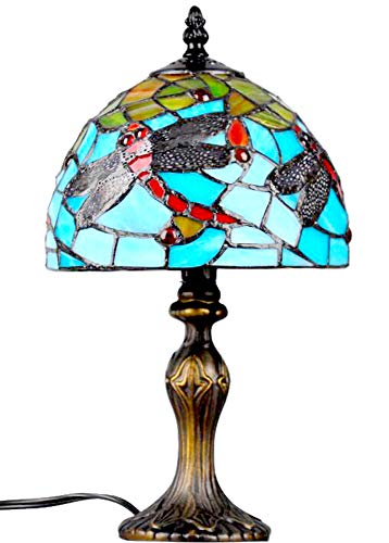 Tiffany Style Table Lamp, Multi-Color Tiffany Glass with Dragonfly Pattern Shade, 14 inches High 8 inches Diameter (TINF-07)
