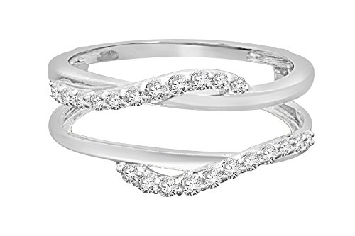 4K white gold .33 carat round Cut diamond solitaire enhancer two swirling bands solitaire ring guard wrap wedding band (white-gold) (Diamond Solitaire Enhancers)
