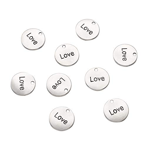 Pandahall 20pcs Tibetan Alloy Flat Round Inspiration Words Charms Finding 20mm Metal Message Charm Pendant for Mother's Day Gift Jewelry Making (Antique Silver)