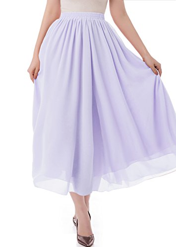 malishow Women's Long Chiffon Skirt Pleated Retro Beach Skirts A-line Maxi Dress Lavender S