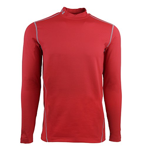 Under Armour Evo ColdGear Fitted Mock - Men's Red / Steel Small - Cold Gear Shirt