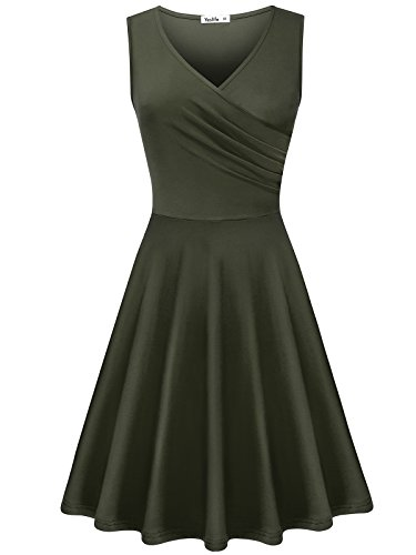 Green Soft Dress - Yeslife Women's Elegant V-Neck Sleeveless Summer Casual Midi Dress Army Green M