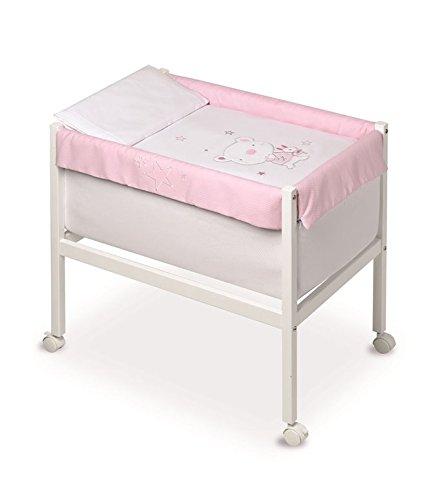 pirulos 20013120–minicuna quadratisch, Motiv Bär Star, 61x 90x 80cm, Farbe: weiß/pink