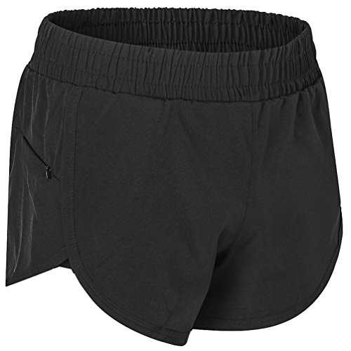 FITIBEST Women Double-Layer Sports Yoga Shorts Quick-Dry Running Shorts Casual 2-In-1 (Black, Asia XL(US L)) - Womens Double Dry Spandex