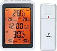 Romacci Termômetro interno externo sem fio Monitor digital de temperatura ambiente a até 328 pés de distância