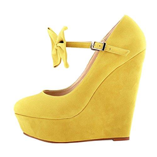 MERUMOTE - Zapatos de vestir de ante para mujer amarillo
