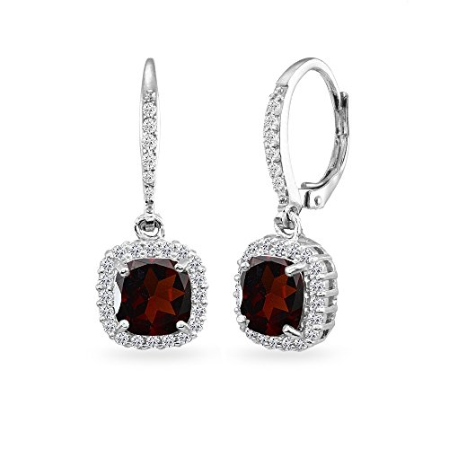 Sterling Silver Garnet Cushion-Cut Dangle Halo Leverback Earrings with White Topaz Accents ()