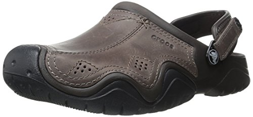 Crocs Sandali da uomo in pelle CLG Swift Water, Espresso / Black, 7 M US