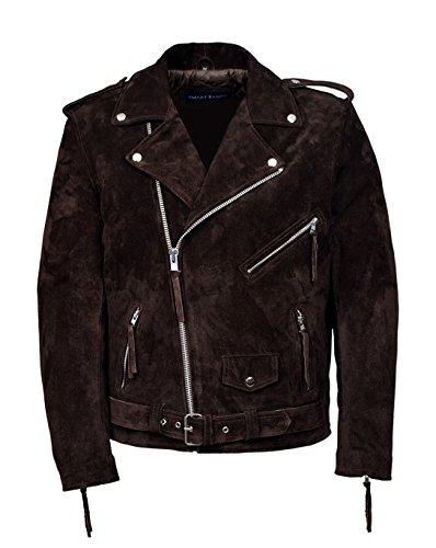 Smart Range New Men's Brando Brown Suede Men's Classic Motorcycle Biker Real Leather Jacket (New England Brown Coat)