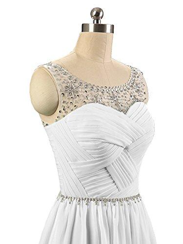 Abschlussball Damen Kleider Weiß Lang Chiffon Abendkleid Formale Perlen Kmformals Brautjungfer vqFXBB