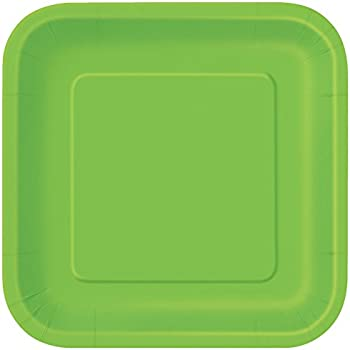 Square Lime Green Paper Plates 14ct  sc 1 st  Amazon.com & Amazon.com: Square Green Paper Plates 14ct: Disposable Plates ...