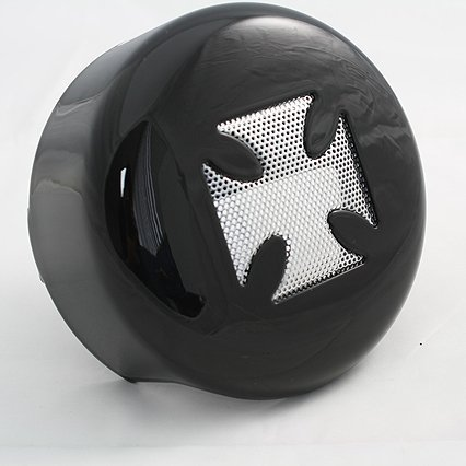 BKRider 4-5/8 Black Horn Cover with Chrome Maltese Cross Insert For Harley-Davidson - Harley Maltese Cross