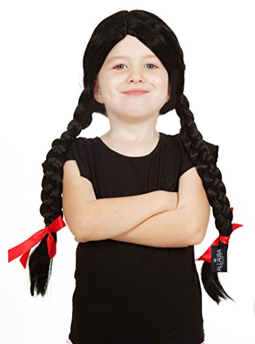 Black Pigtail Wig Braids + Ribbons + Wig Cap! Womens & Girls Halloween Costume Wigs! Fits Adults Wom - http://coolthings.us
