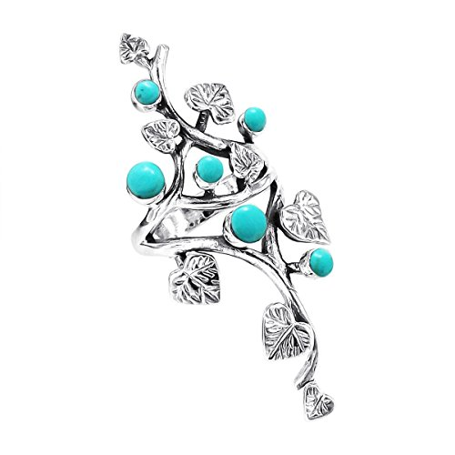 ine Leaf Round Simulated Turquoise .925 Sterling Silver Ring (7) ()