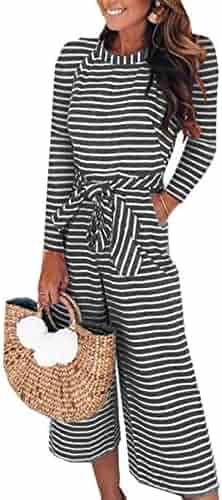 4a53b8a8736 PRETTYGARDEN 2018 Women s Striped Sleeveless Waist Belted Zipper Back Wide  Leg Loose Jumpsuit Romper with Pockets