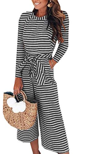 PRETTYGARDEN 2018 Women's Striped Sleeveless Waist Belted Zipper Back Wide Leg Loose Jumpsuit Romper with Pockets (Q_Black, Medium) by PRETTYGARDEN
