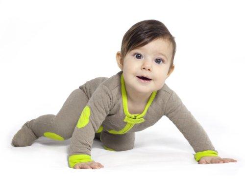 Baby deedee Sleepsie Cotton Quilted Footie Pajama, 12-18 months, Khaki/Lime by baby deedee