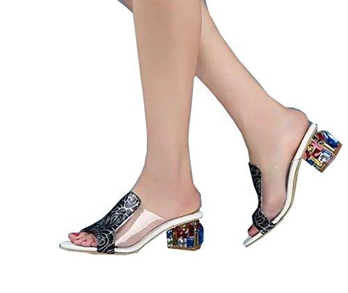 37 Naisten Nahka Naisten Naisille Karkea Tossut Korean Dfb Sandaalit Suurikokoinen Musta Kristalli Kanssa Strassit Kenkiä 4wpC6BAqx