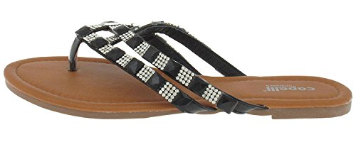 Capelli New York Faux Leather Double Strap Thong with gem Trim Ladies Flip Flop Black 7 by Capelli New York