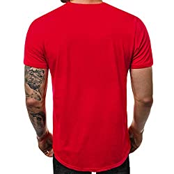 Ykaritianna Men S Summer Casual Alphabet Printing Elastic Short Sleeve T Shirt Blouse Tops Red